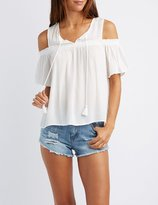 Charlotte Russe Tassel-Tie Cold Shoulder Top