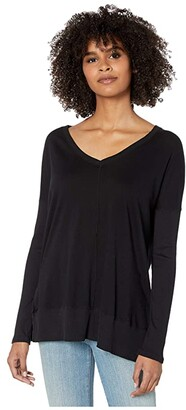 bobi Los Angeles V-Neck Long Sleeve Rib Top in Lightweight Jersey (Black) Women's T Shirt