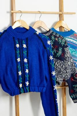 Urban Renewal Vintage Remade From Vintage Pattern Bubble Hem Knitted Jumper - Blue XS/S at Urban Outfitters