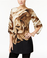 JM Collection Floral-Print Angel-Sleeve Tunic, Only at Macy's