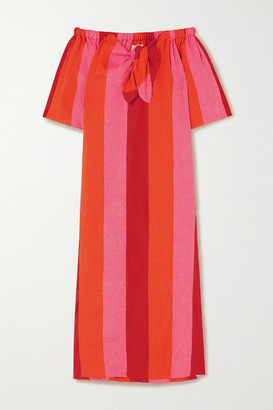 Mara Hoffman Kamala Off-the-shoulder Striped Linen Maxi Dress - Red