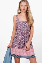 boohoo Ginny Printed Zip Detail Skater Dress pink