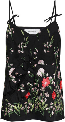 Marques Almeida Ruffle-trimmed Cutout Embroidered Cotton-blend Camisole