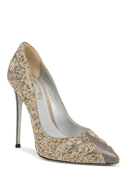 Rene Caovilla Crystal Embellished Lizard Embossed Stiletto Pump