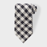 Paul Smith Men's Black And Ecru Gingham Silk Tie