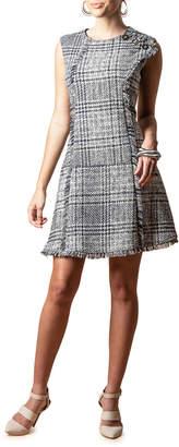 Eva Franco Ginger Plaid Sleeveless Fringe-Trim Dress