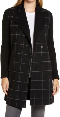 Kenneth Cole New York Windowpane Check Knit Sleeve Coat