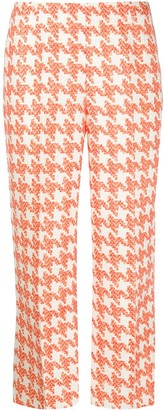 Loulou Cropped Flared Houndstooth Trousers