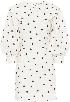 Ganni Polka-dot cotton-poplin dress