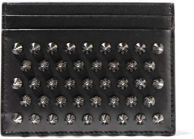 Christian Louboutin Kios Spiked Leather Cardholder - Black