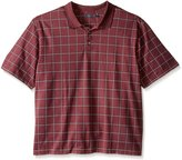 Arrow Men's Big-Tall Short Sleeve Printed Windowpane Oxford Polo