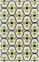 Payne Rizzy Home Vicki Collection Floral 3-Foot x 5-Foot Rug in White