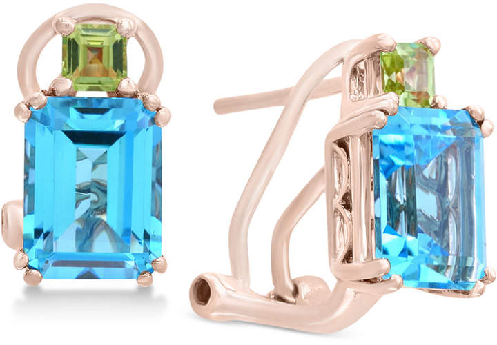 Effy Blue Topaz (3-9/10 ct. t.w.) & Peridot (3/8 ct. t.w.) Drop Earrings in 14k Rose Gold