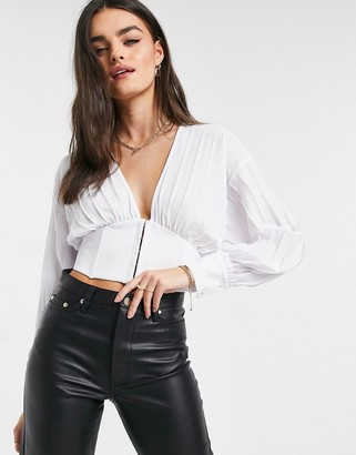 Steele Twiggle pleated blouse in white