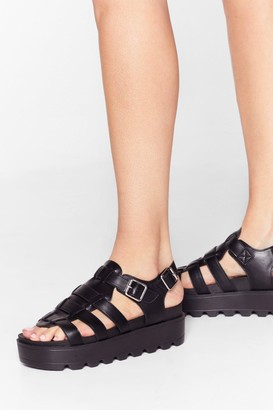 Nasty Gal Womens Strapped in Faux Leather Cleated Sandals - Black
