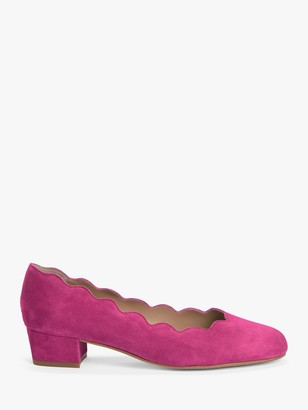 John Lewis & Partners Aiyanna Scallop Mid Heel Court Shoes, Pink
