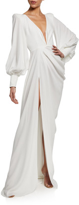 Alex Perry Clark Twisted Full-Sleeve Gown