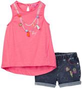 Betsey Johnson Necklace Print Tank & Knit Denim Short Set (Little Girls)