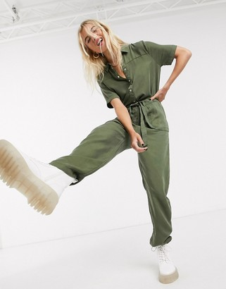 Noisy May Noisy utility jumpsuit with tie waist in khaki
