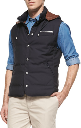 Brunello Cucinelli Wool Hooded Vest, Navy