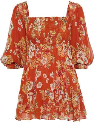 Nicholas Shirred Floral-print Silk-georgette Mini Dress