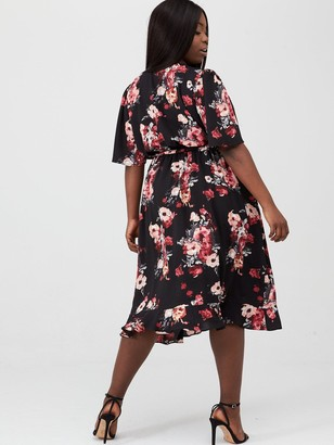 V By Very Curve Ruffle Front WrapTea Dress - Black Floral