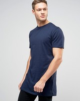 New Look Longline T-Shirt In Navy