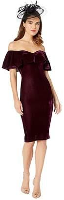 Unique Vintage Velvet Draped Off Shoulder Sophia Wiggle Dress