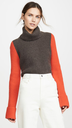 Autumn Cashmere Cuffed Colorblock Cashmere Pullover