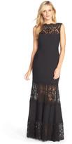Tadashi Shoji Illusion Lace & Jersey Gown