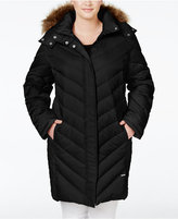 Kenneth Cole Plus Size Faux-Fur-Trim Chevron Quilted Down Puffer Coat
