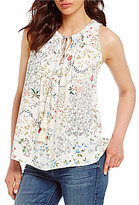 WAYF Sleeveless Pleated Floral Blouse