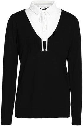 Claudie Pierlot Lace-Paneled Wool Sweater