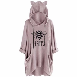 Yivise Womens Sport Casual Hooded Pullover Letter Print Cat Ear Hoodies Long Sleeve Tops Blouse Sweatshirt(Pink2 X-Large)