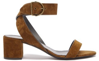 Saint Laurent Charlie Wraparound-strap Suede Sandals - Womens - Tan