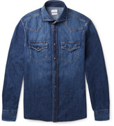 Brunello Cucinelli - Cutaway-collar Denim Western Shirt