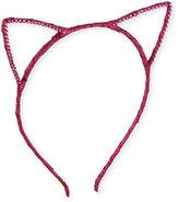 Bari Lynn Glittered Cat-Ear Headband, Fuchsia
