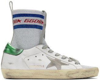 Golden Goose White Superstar Sock High-Top Sneakers