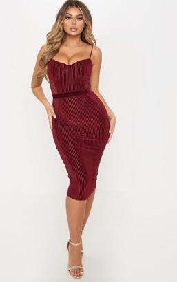 Pure Burgundy Velvet Lace Panel Midi Dress