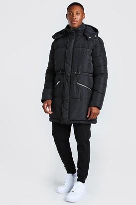 boohoo Mens Black Toggle Detail Longline Hooded Puffer, Black