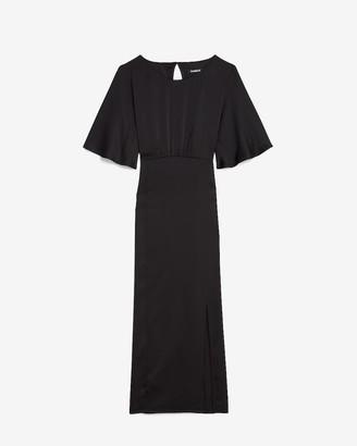 Express Satin Open Back Midi Dress