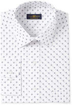 Club Room Men's Estate Classic-Fit White Print Wrinkle Resistant Dress Shirt, Created for Macy's