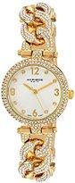 Akribos XXIV Women's AK756YG Swiss Quartz Movement Watch with Silver Engraved Sunburst Dial and Yellow Gold Bracelet