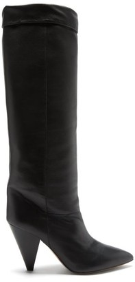Isabel Marant Loens Slouchy Knee-high Leather Boots - Black