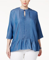 Melissa McCarthy Trendy Plus Size Chambray Peplum Top