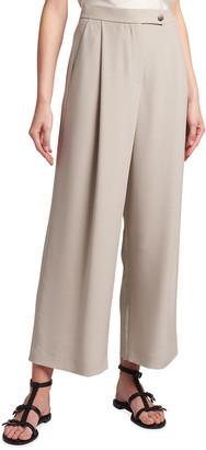 Giorgio Armani Drape Wide-Leg Cropped Silk Pants