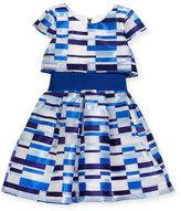 Zoë Ltd Short-Sleeve Geometric Tulle Popover Dress, Blue, Size 7-16