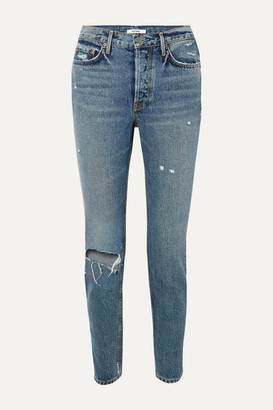 GRLFRND Karolina Distressed High-rise Slim-leg Jeans - Mid denim