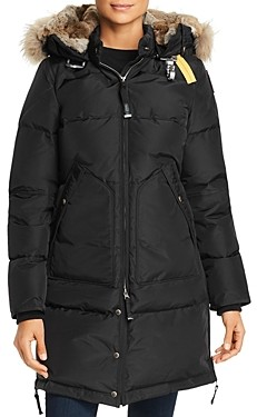Parajumpers Long Bear Fur Trim Down Coat