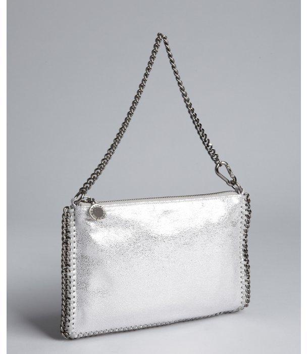 Stella McCartney silver faux leather chain trim mini shoulder bag